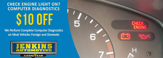 Check Engine Light On And Off >> Jenkins Automotive Service Tire Center Promotions